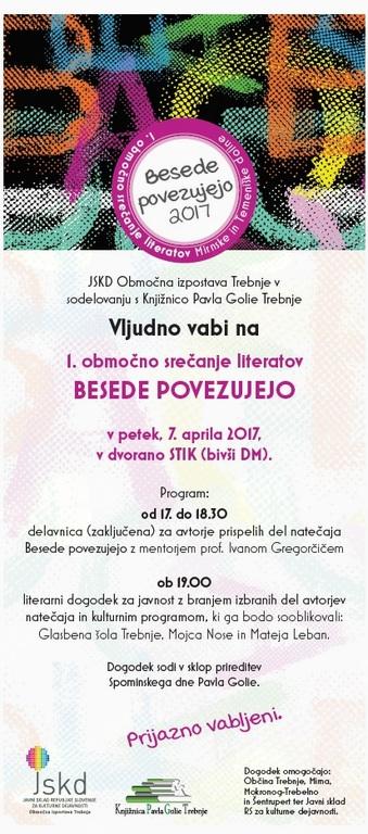 BESEDE POVEZUJEJO 2017: 1. območno srečanje literatov Mirnske in Temeniške doline