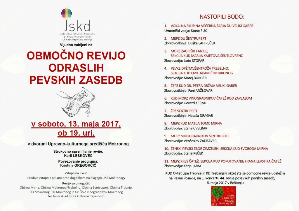 Območna revija odraslih pevskih zasedb v Mokronogu