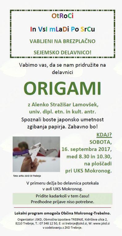 Brezplačna sejemska delavnica v Mokronogu: Origami