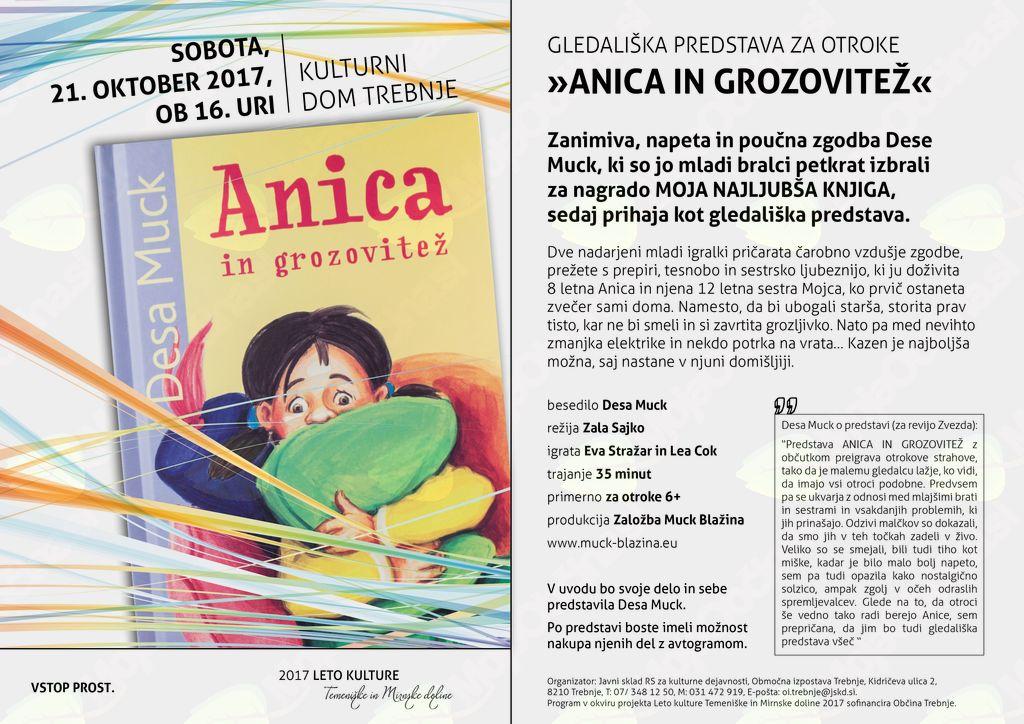 Gledališka predstava za otroke ob Letu kulture Temeniške in Mirnske doline 2017: Anica in grozovitež