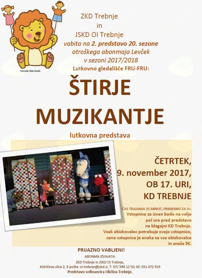 2. predstava v okviru 20. sezone otroškega abonmaja Levček: Štirje muzikantje (izvaja LG FRU-FRU)
