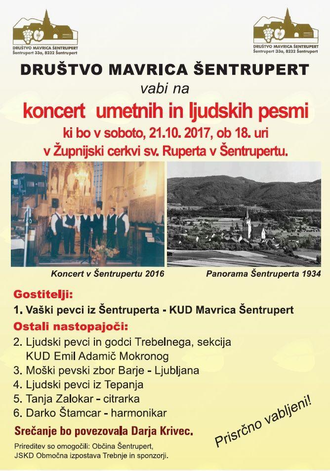 Vaški pevci Šentrupert (sekcija KD Mavrica Šentrupert) vabijo na Koncert umetnih in ljudskih pesmi