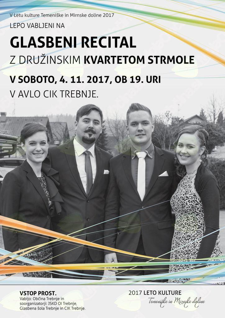 Leto kulture Temeniške in Mirnske doline 2017: Glasbeni recital z Družinskim kvartetom Strmole