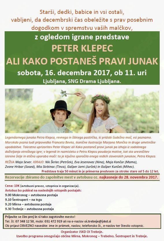 Organiziran ogled predstave Peter Klepec ali Kako postaneš pravi junak v SNG Drama Ljubljana