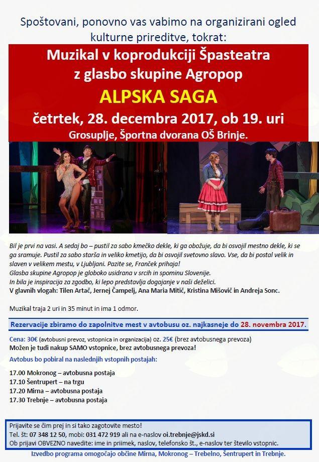 Organizirani ogled muzikala ALPSKA SAGA