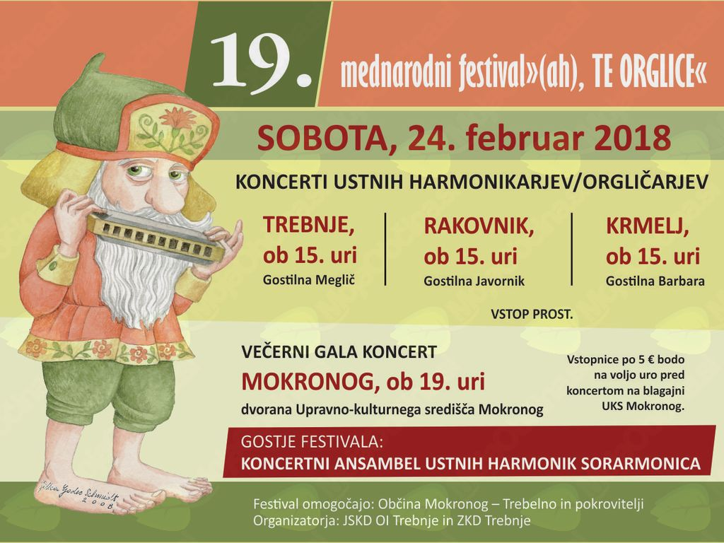 """19. mednarodni festival """"(ah), TE ORGLICE"""" tudi v Šentrupertu"""