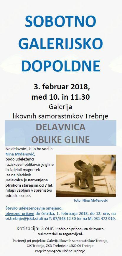 Sobotno galerijsko dopoldne: Delavnica oblike gline z Nino Mrđenović