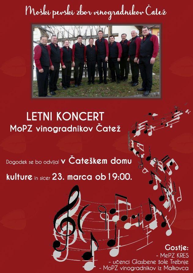 Letni koncert Moškega pevskega zbora vinogradnikov Čatež