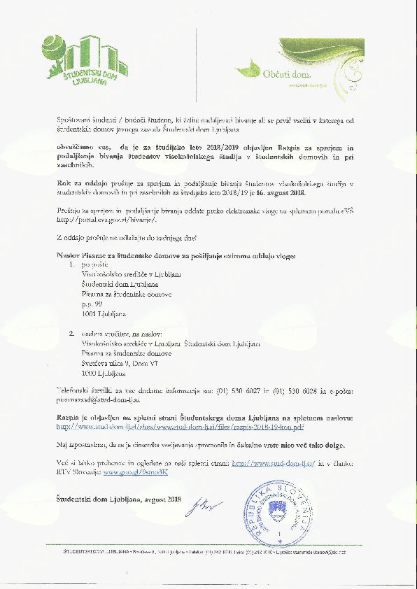 Razpis za sprejem in podaljšanje bivanja študentov visokošolskega študija v študentskih domovih in pri zasebnikih za študijsko leto 2018/2019