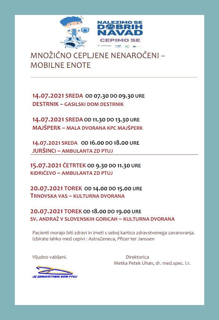 Množično cepljenje - nenaročeni izven Ptuja od 14.7.-20.7.2021 - mobilna enota