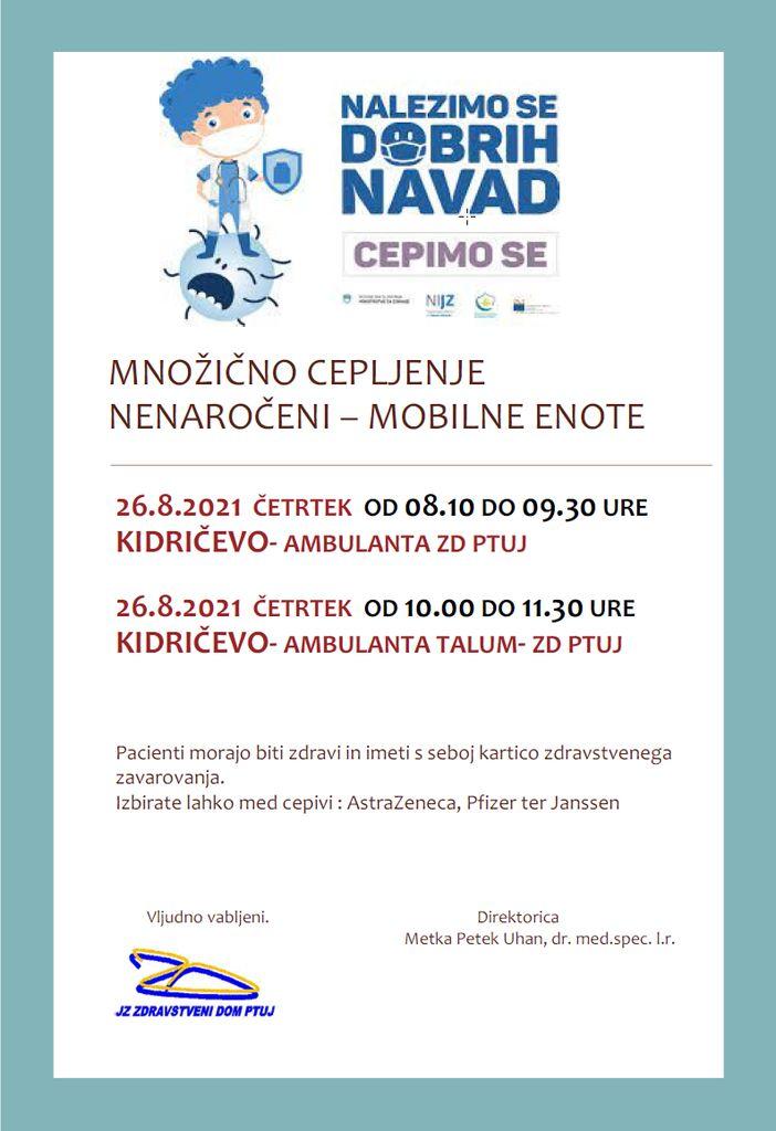 Cepljenje zoper COVID-19 - brez prijave - 26.8.2021 v Kidričevem
