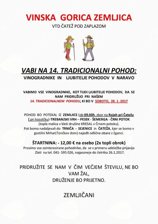 14. Tradicionalni pohod: Vinska gorica Zemljica