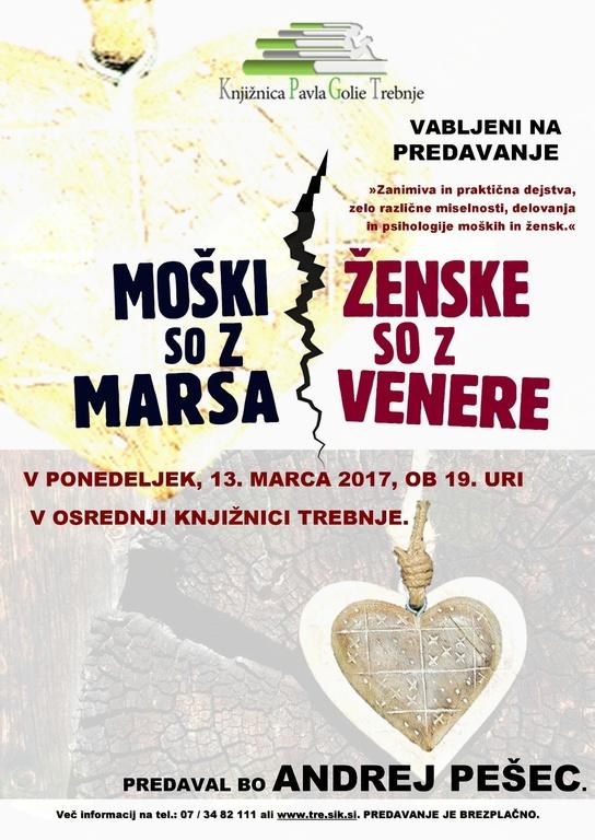 Andrej Pešec: Ženske so z Venere, moški so z Marsa (strokovno predavanje)