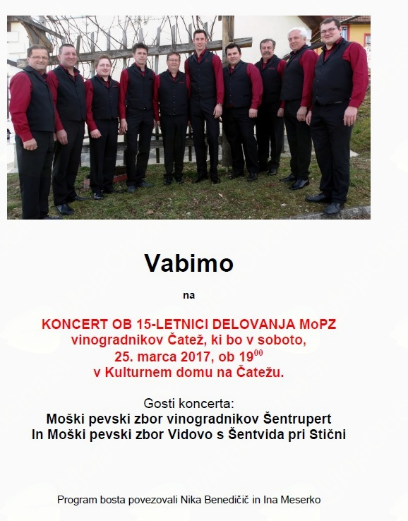 Koncert ob 15-letnici delovanja MoPZ vinogradnikov Čatež
