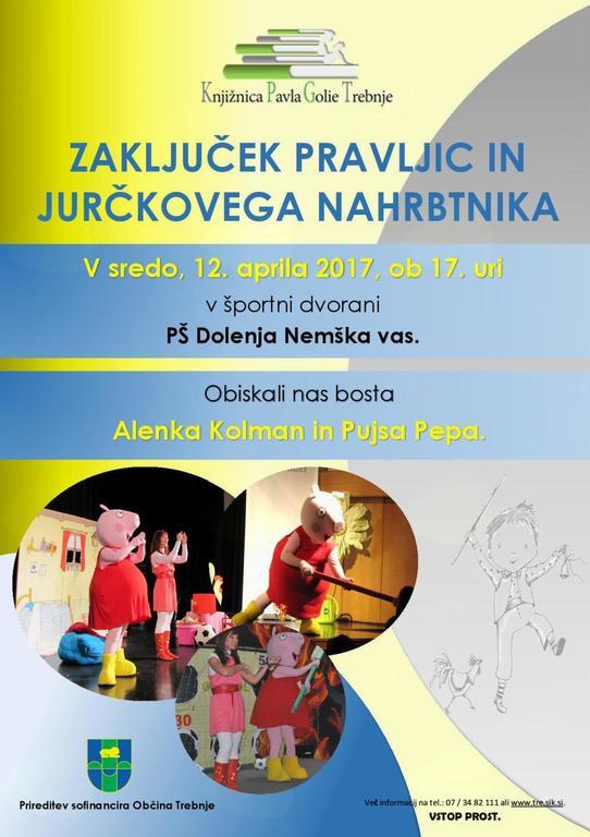 Zaključek pravljic in jurčkovega nahrbtnika: Alenka Kolman in Pujsa Pepa
