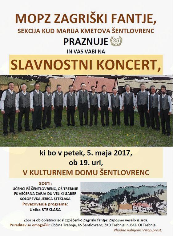 Slavnostni koncert ob 25-letnici delovanja MoPZ Zagriški fantje