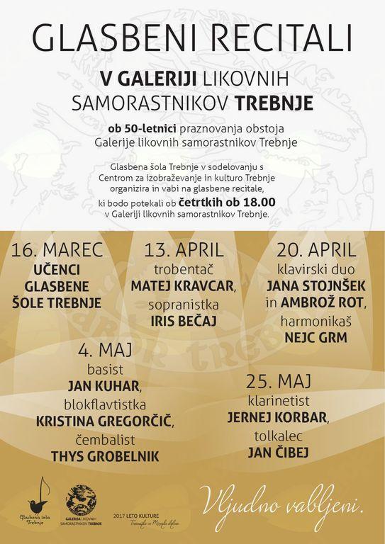 Glasbeni recital - basist Jan Kuhar, blokflavtistka Kristina Gregorčič, čembalist Thys Grobelnik
