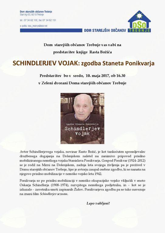 Predstavitev knjige Rasta Božiča - Schindlerjev vojak: zgodba Staneta Ponikvarja