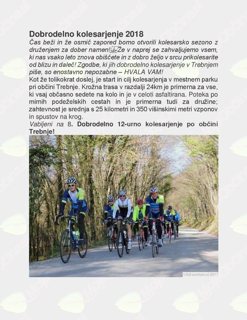 8. Dobrodelno 12-urno kolesarjenje po občini Trebnje
