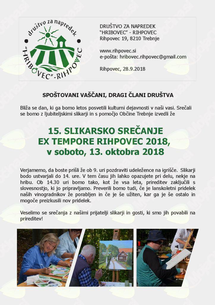15. Slikarsko srečanje Ex Tempore Rihpovec 2018