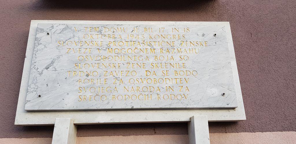 SPOMINSKA SOBA 1. KONGRESA SLOVENSKE PROTIFAŠISTIČNE ŽENSKE ZVEZE