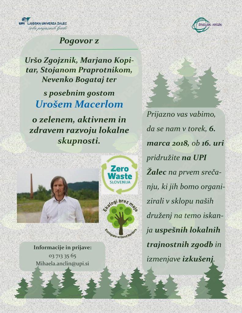 Pogovor o zelenem, aktivnem in zdravem razvoju lokalne skupnosti