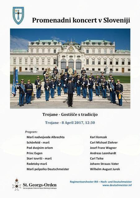 Promenadni koncert pihalnega orkestra Regimentsorchester IR4 - Hoch - und Deutschmeister
