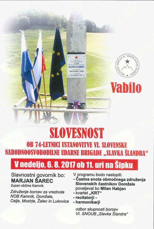 Vabilo na slovesnost ob 74.-letnici ustanovtve VI. narodnoosvobodilne udarne brigade Slavka Šlandra