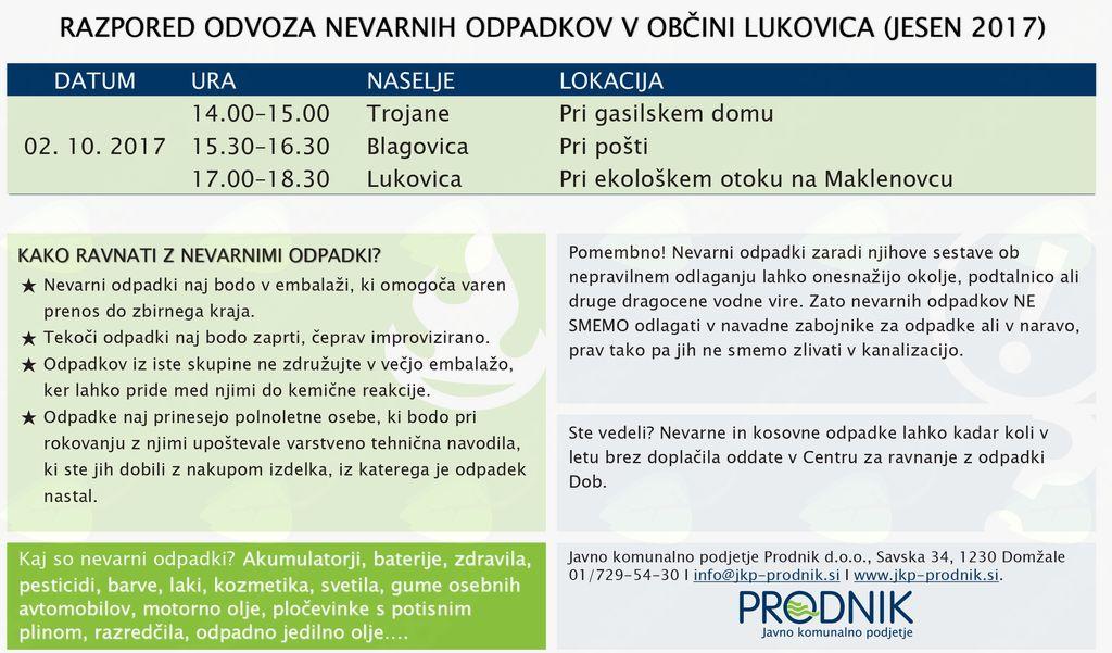 Jesenska akcija zbiranja in odvoza kosovnih ter nevarnih odpadkov