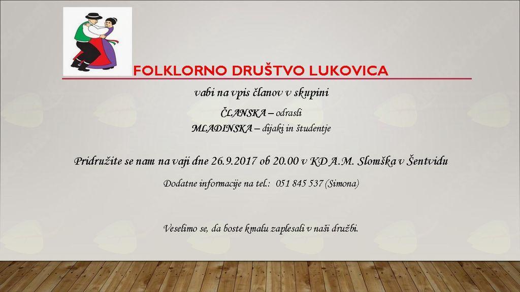 Folklorno društvo Lukovica - vpis novih članov