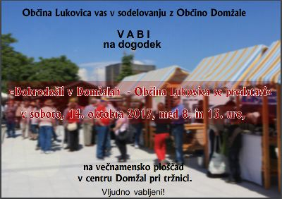 Dobrodošli v Domžalah - Občina Lukovica se predstavi