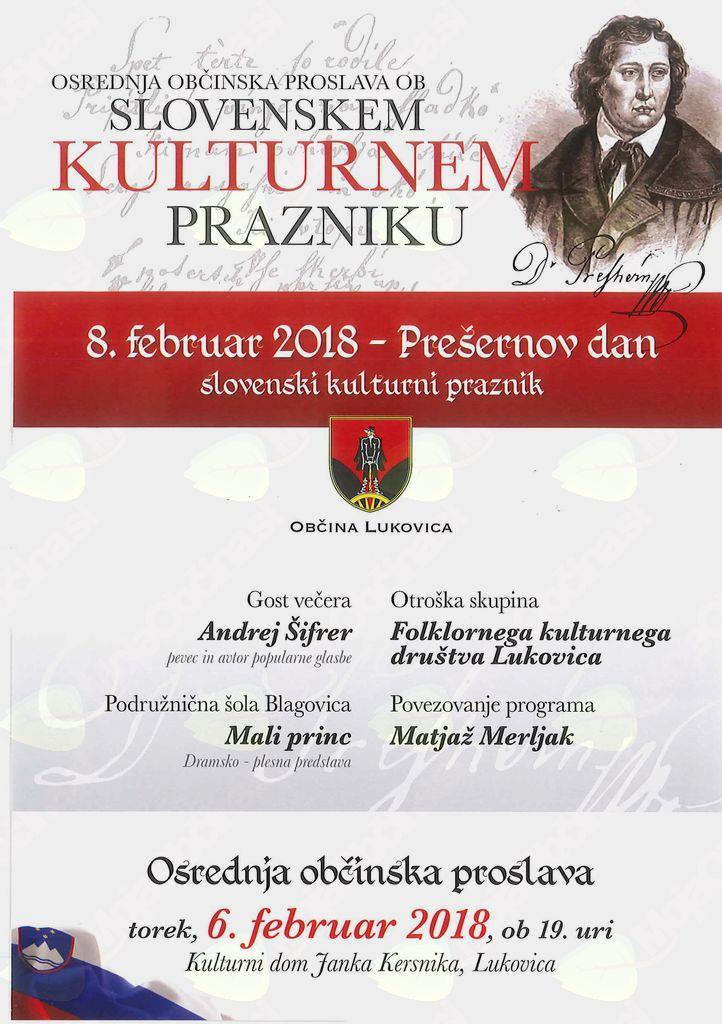 Osrednja občinska proslava ob SLOVENSKEM KULTURNEM PRAZNIKU