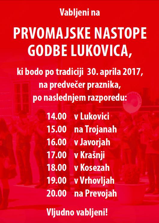 Prvomajski nastopi Godbe Lukovica