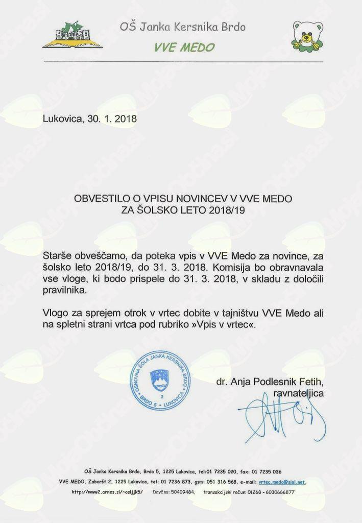 Obvestilo o vpisu novincev v VVE Medo za šolsko leto 2018/19