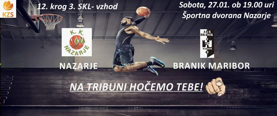 Košarkarska tekma Nazarje - Branik Maribor