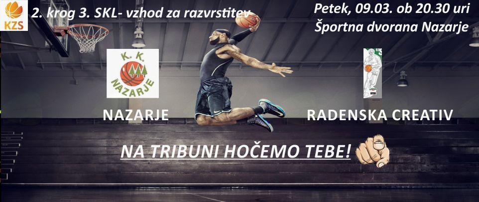 Košarkarska tekma Nazarje - Radenska Creativ Sobota