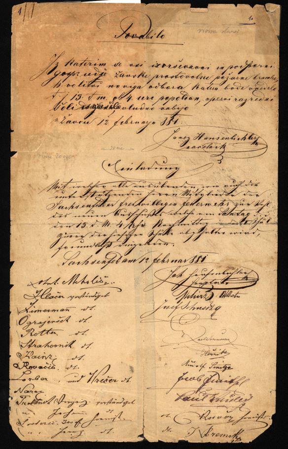 Vabilo na udeležbo na uradni občni zbor Požarne brambe Žalec, 12. februar 1881
