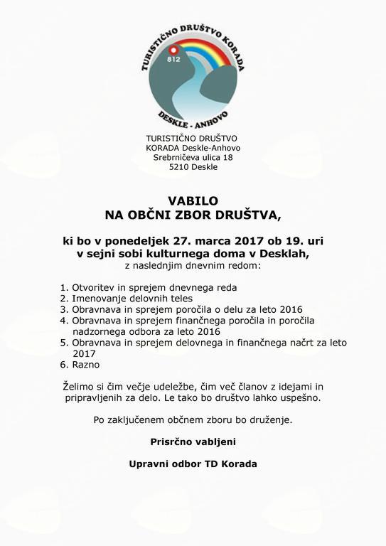 Občni zbor turističnega društva Korada Deskle - Anhovo
