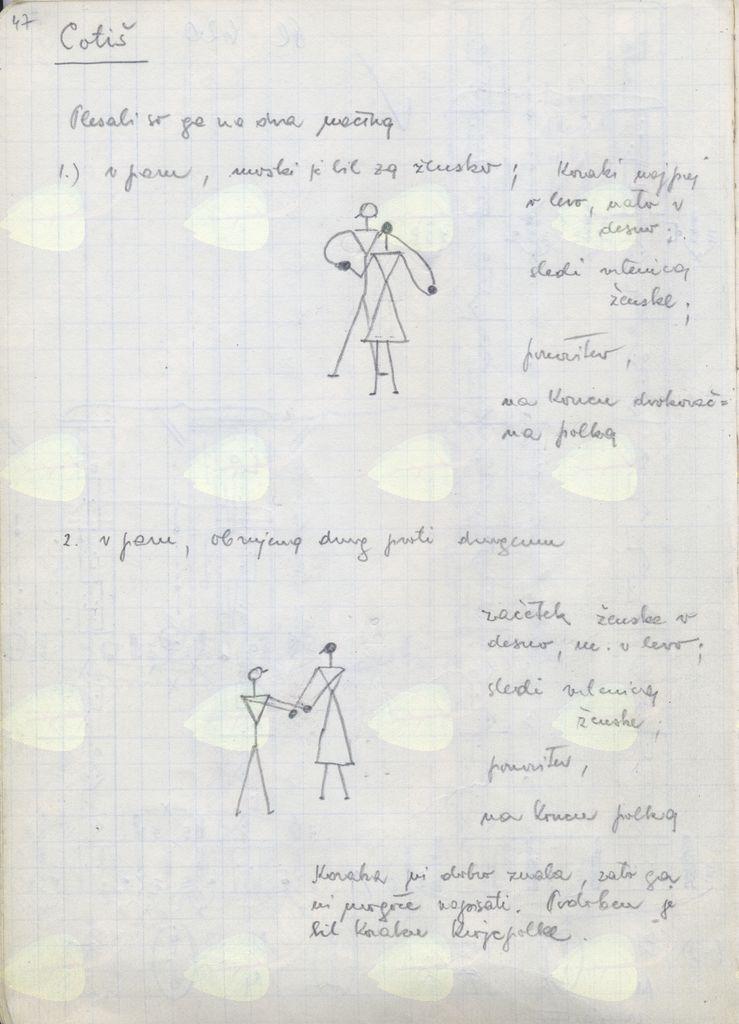 Ramovševi zapisi cotiša po Emiliji in Henriku Hojaku iz leta 1967 (Glasbenonarodopisni institut, ZRC SAZU)