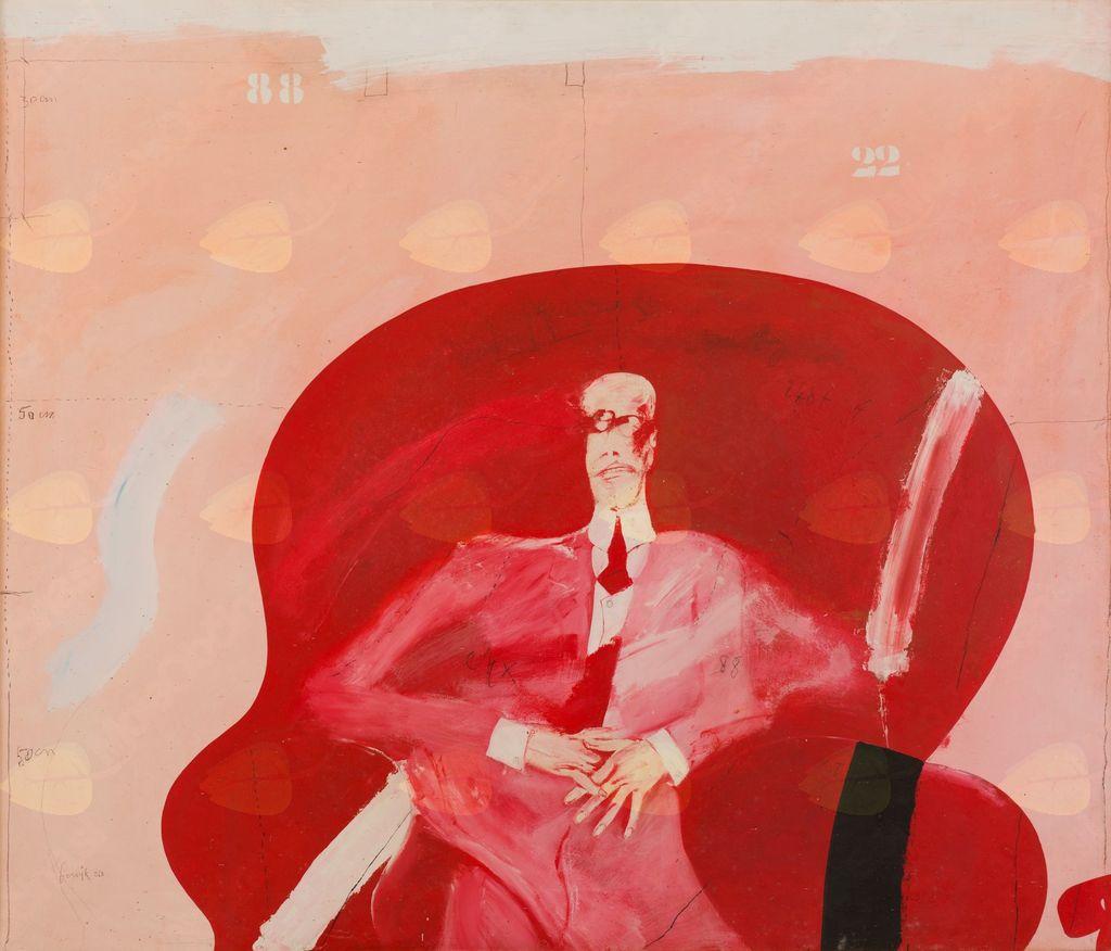 Apel podobo na ogled … Delo Janeza Bernika, Rdeči v rdečem. Foto Boštjan Pucelj.