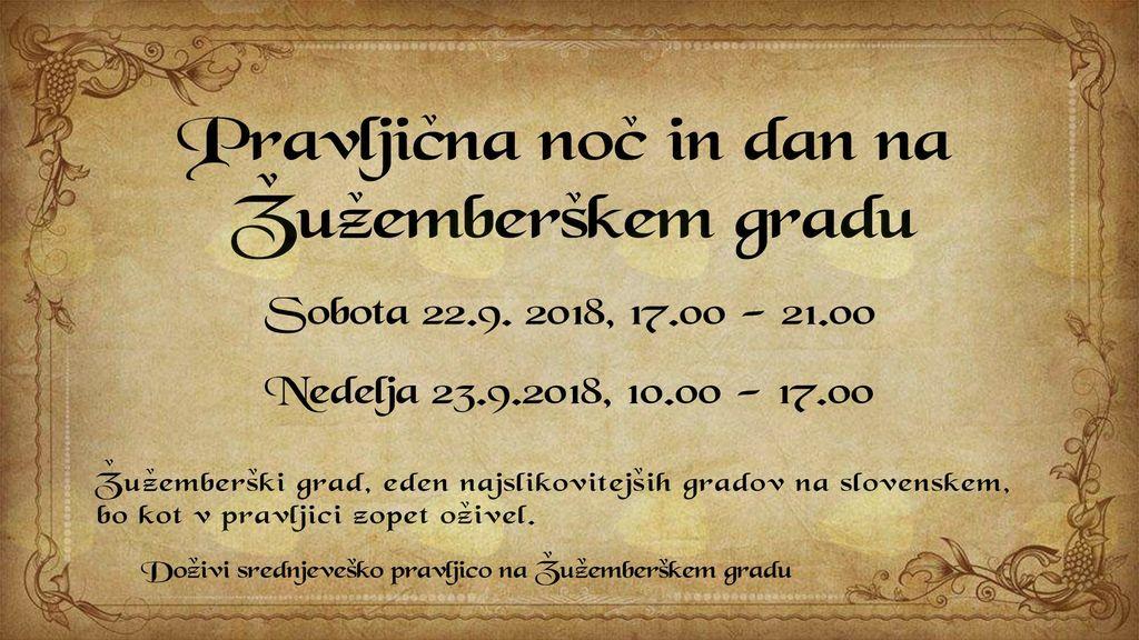8. pravljična noč in dan na Žužemberškem gradu