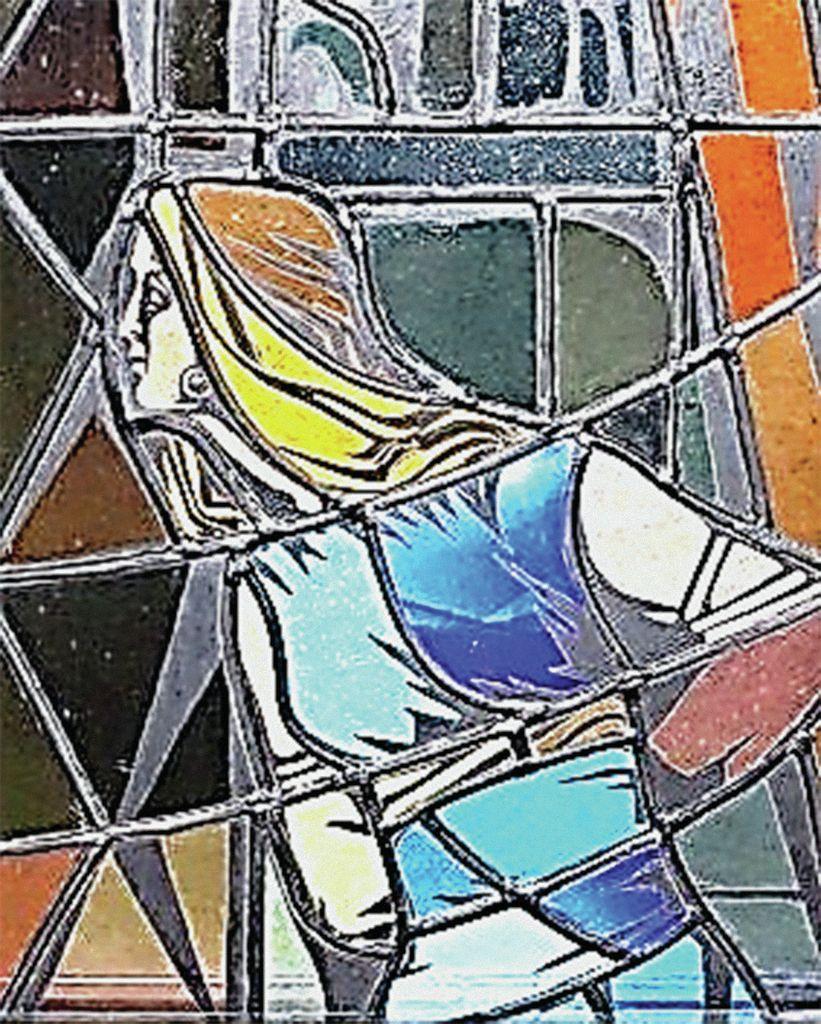 Vitraž s podobo Miklove Zale v novi cerkvi sv. Egidija v Št. Ilju ob Dravi (St. Egyden an der Drau), delo mojstra Anzola Fuge iz Murana (ok. 1973)