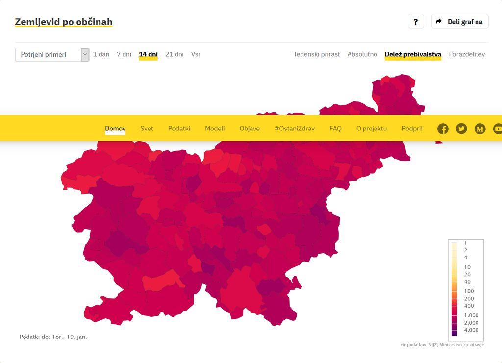 Podatki po občinah na 19.1.2021, covid sledilnik