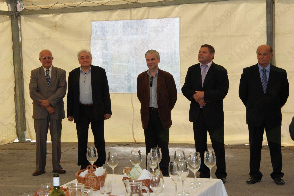 Pozdravne besede ob prihodu na Frankolovo: Milan Brecl, Matev Karamfil, dr. Ljudmil Dimitrov, Dušan Horvat in Beno Podergajs