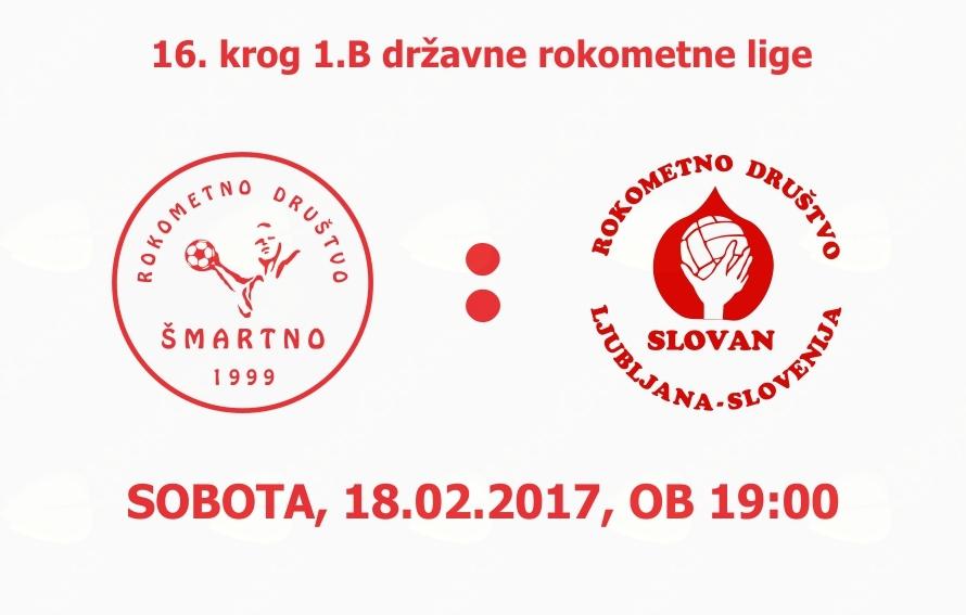 Rokometna tekma proti RD Slovan (1.B DRL - 16.krog)