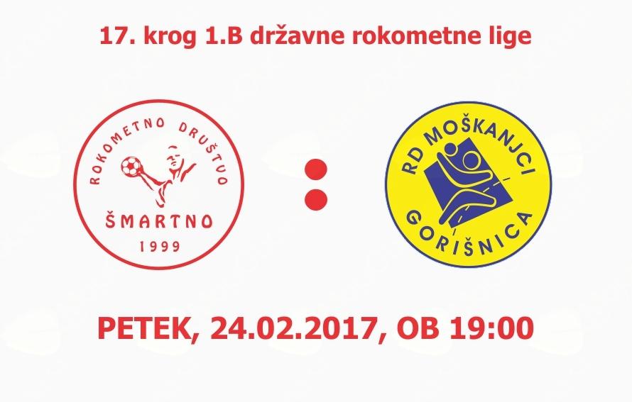 Rokometna tekma proti RD Moškanjci-Gorišnica (1.B DRL - 17.krog)