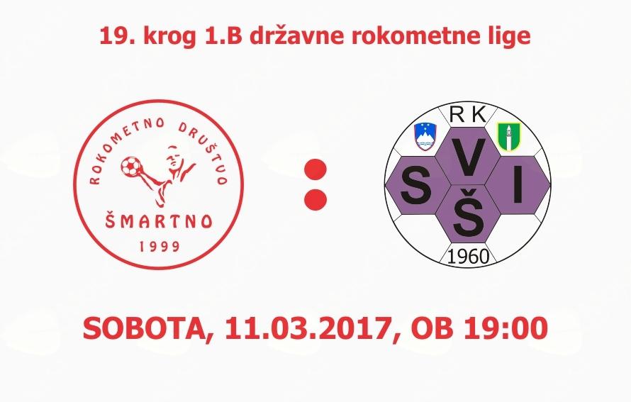 Rokometna tekma proti RK SVIŠ Ivančna Gorica (1.B DRL - 19.krog)