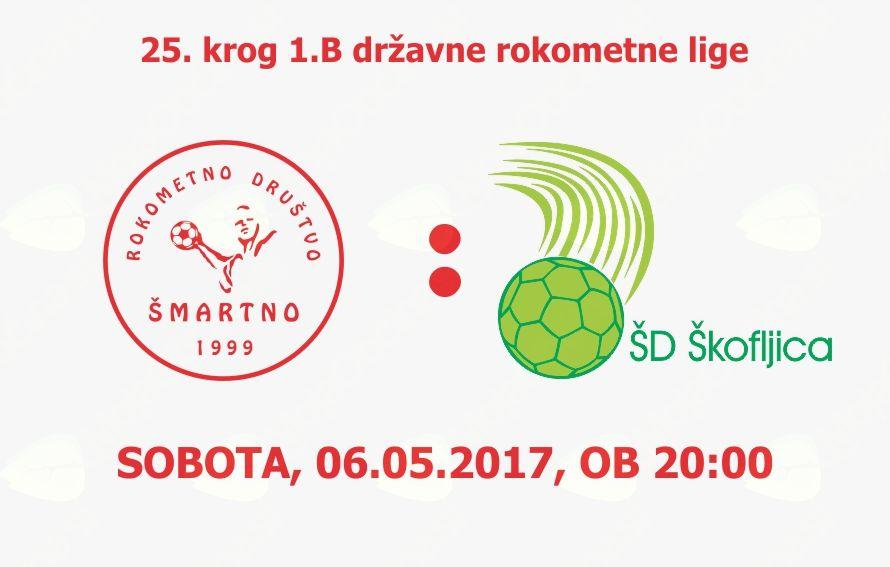 Rokometna tekma proti ŠD Škofljica Pekarna Pečjak (1.B DRL - 25.krog)