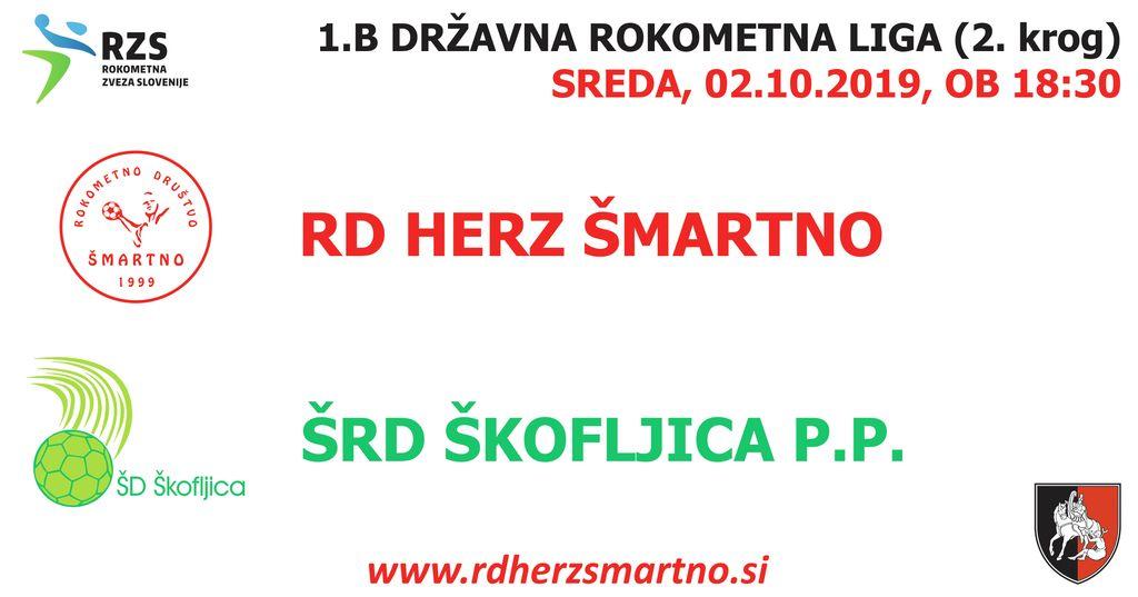 Rokometna tekma proti ŠRD ŠKOFLJICA PEKARNA PEČJAK (1.B DRL - 2. krog)