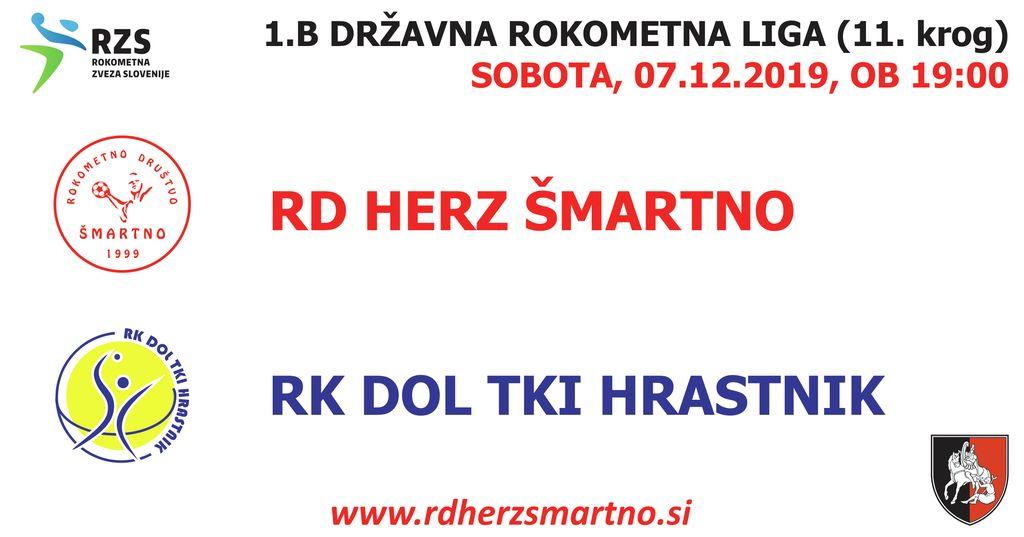 Rokometna tekma proti RK DOL TKI HRASTNIK (1.B DRL - 11. krog)